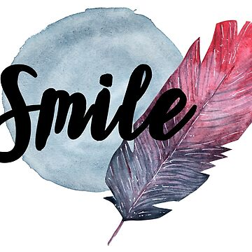 Smile Watercolor Feather by RenJean