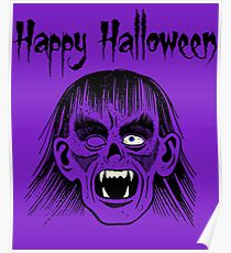 Monster Happy Halloween Text Black Style I - Transparent Face  Poster