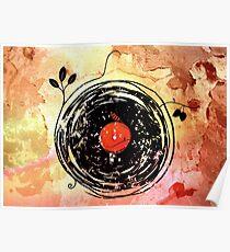 Enchanting Vinyl Records Grunge Art  Poster