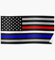American Flag - Thin Blue, White, and Red Line Poster