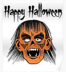 Monster Happy Halloween Text Black Style I - Orange Face Poster