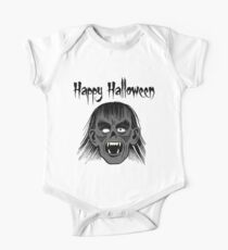 Monster Happy Halloween Text Black Style I - Grey Face  Kids Clothes