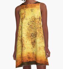 Vintage Old World Map A-Line Dress