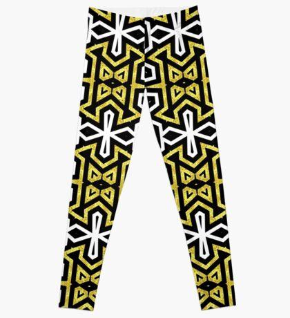 Funky Black n Gold Aztec Pattern Leggings
