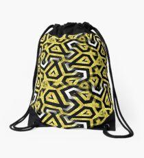 Gold Black White Abstract Patterns Drawstring Bag