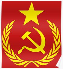 Hammer and Sickle Communist Flag Poster