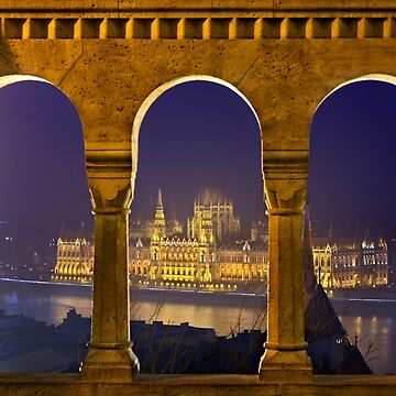 The Hungarian Parliament through the Fisherman's Bastion by Cretense72