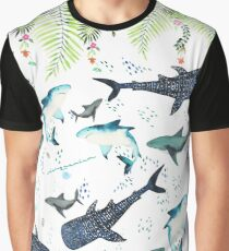 florales Haifischmuster Grafik T-Shirt