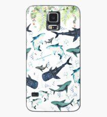 Funda/vinilo para Samsung Galaxy patrón de tiburón floral