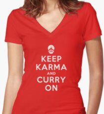 Keep Karma And Curry On [iPad / Phone cases / Prints / Clothing / Decor] Women's Fitted V-Neck T-Shirt