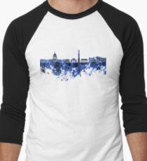 Washington DC skyline in blue watercolor on white background  Men's Baseball ¾ T-Shirt