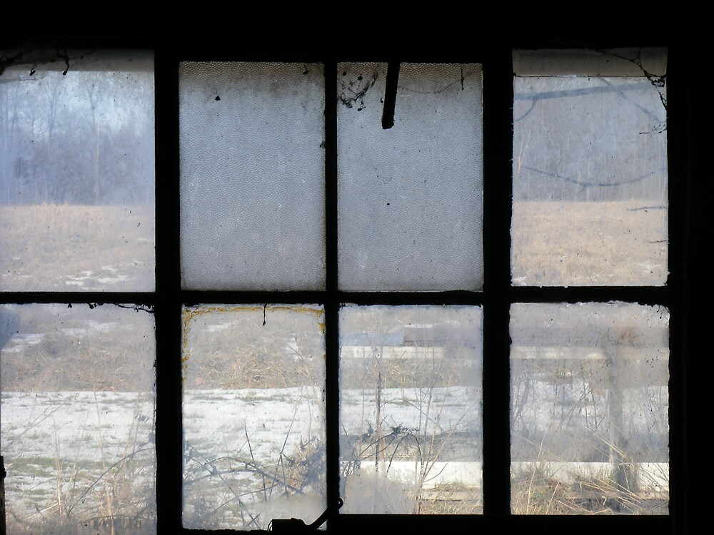 Window inside a old barn overlooking farmland  by stephaniejade