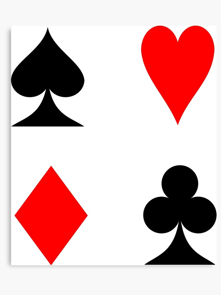 card heart spade diamond club  Playing cards suit pips symbols - Spade - Heart - Diamond - Club - French  four color | Canvas Print