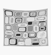 Black White Gray Mid Century Modern Geometric Print - Rectangles Squares Wall Tapestry