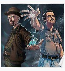 Narcos Breaking Bad Pablo Escobar Walter White Poster