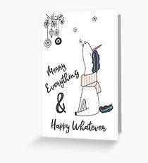Merry Everything & Happy Whatever - Weihnachtseinhorn Grußkarte