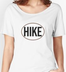 HIKE BLACK WHITE OVAL HIKING MOUNTAINS EXPLORE OUTDOORS NATURE Women's Relaxed Fit T-Shirt