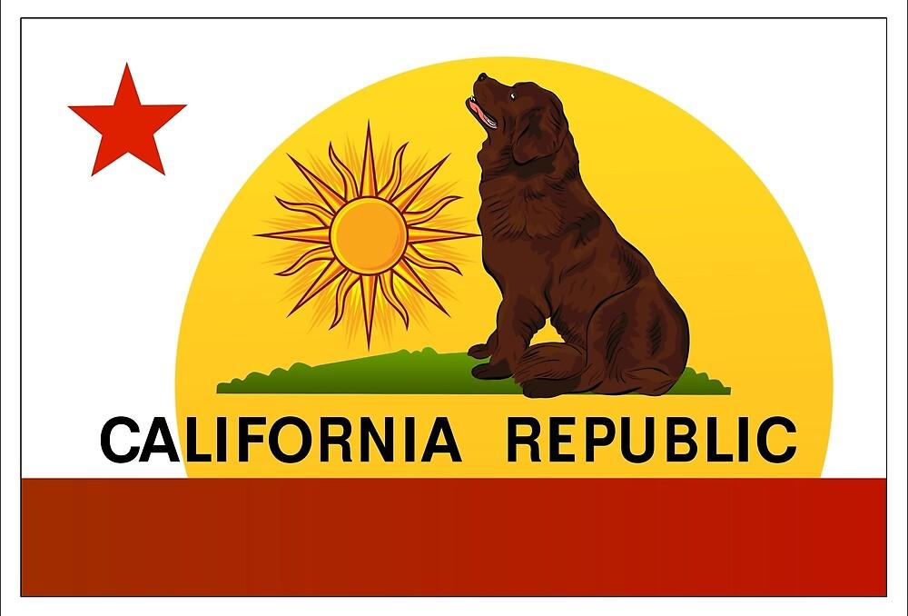 California Flag with a Newfoundland Dog by Christine Mullis