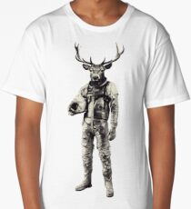 Psychedelic Deer Astronaut (Vintage Effect) Long T-Shirt