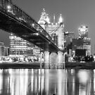Cincinnati Ohio Panoramic Skyline Reflections - Black and White by Gregory Ballos