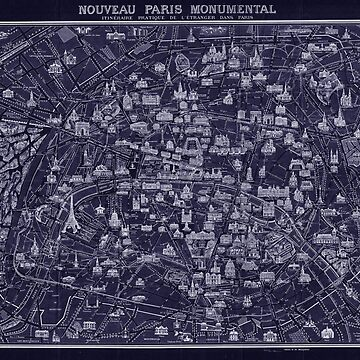 Antique French Map of Paris Blueprint style by Glimmersmith