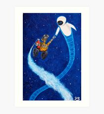 Wall-e and Eve painting Art Print