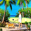 Beach Dog & Surfer Girl by Matthew Campbell