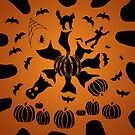 Zombie Black Cat Bat Spider Ghost Pumpkin by melasdesign