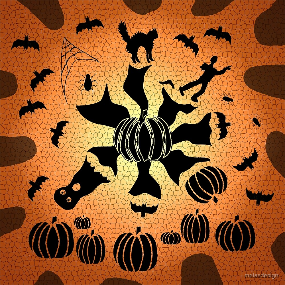Zombie Black Cat Bat Spider Ghost Pumpkin Mosaic by melasdesign