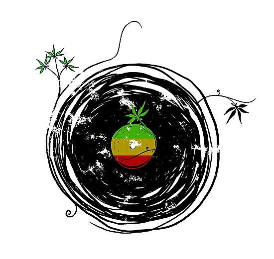Reggae Music - Vinyl Records Cannabis Leaf - DJ inspired design by Denis Marsili