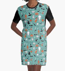 Retro Trick or Treat - Turquoise - Halloween pattern by Cecca Designs Graphic T-Shirt Dress
