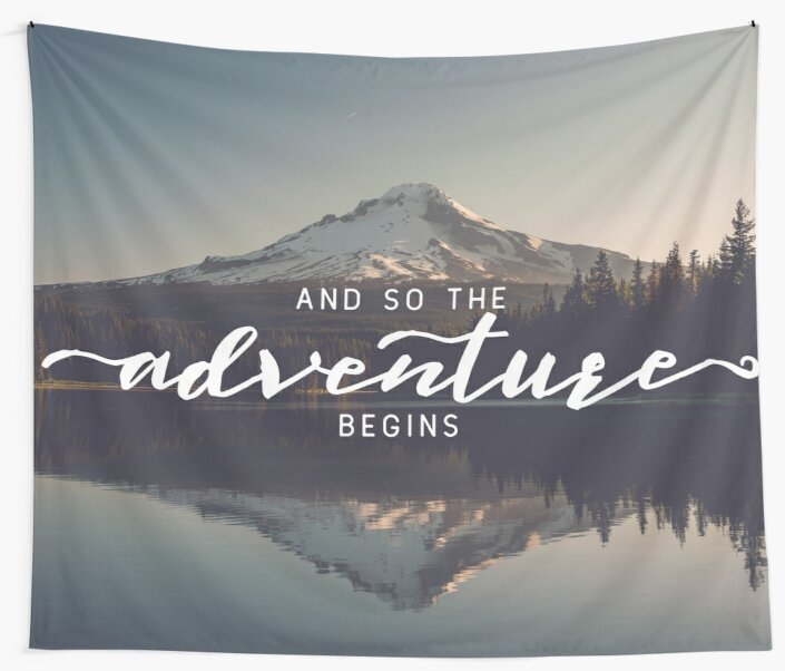 And So The Adventure Begins - Woods Trees Forest Mountain Wall Decor by artcascadia