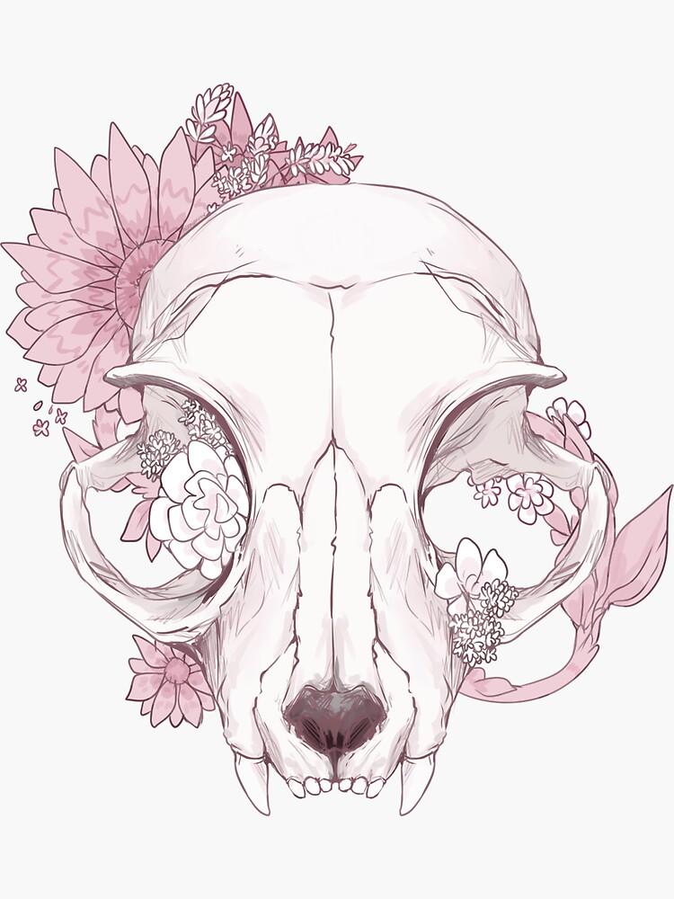 flowers + cat skull by aliensphynx