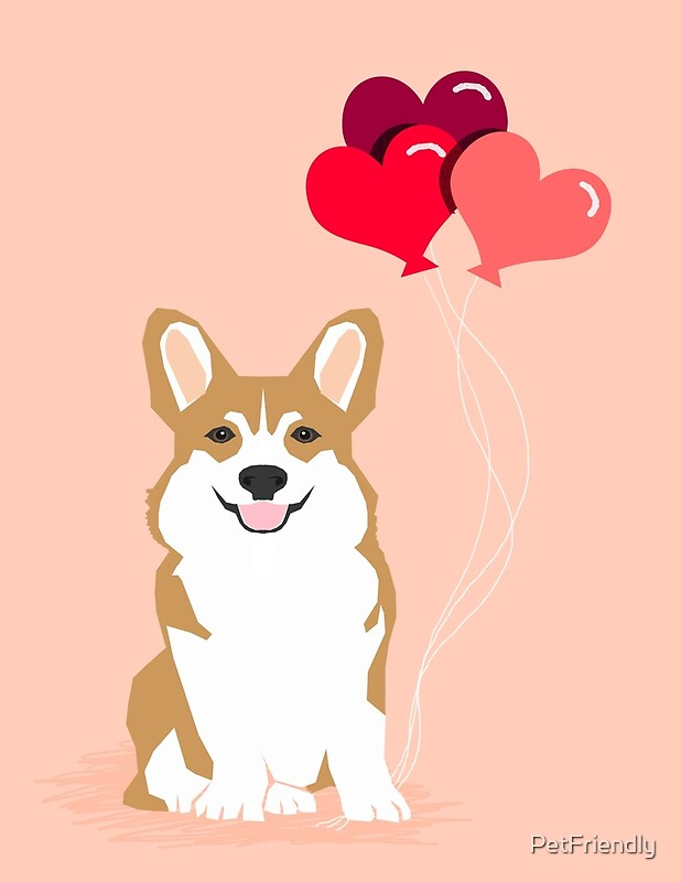 Corgi Heart Balloon Love Valentines Day Cute Dog By