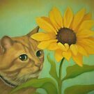 Shy Ginger Cat With Sunflower by Pam Humbargar