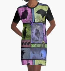 Colorful Crows Collage Graphic T-Shirt Dress