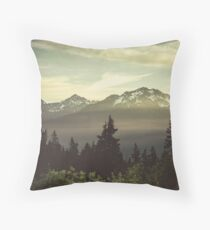 Pacific Northwest Sunrise - Northern Cascade Mountain Forest Throw Pillow