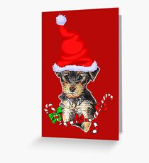 Yorkshire Terrier Puppy Christmas Gifts Greeting Card