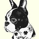 Tattooed Boston Terrier  by PaperTigressArt