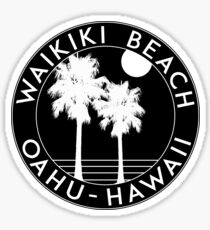 WAIKIKI BEACH HAWAII OAHU SURF SAND SAND SURFING STRAND URLAUB Sticker