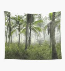 Palm Trees at Sunrise - Foggy Forest Wall Tapestry
