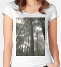 Tropical Forest Path - Foggy Forest Women's Fitted Scoop T-Shirt