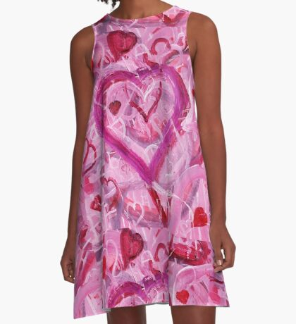 Romantic Scribble Heart Pink 17 A-Line Dress