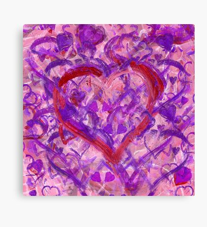 Romantic Scribble Heart Red 17 Canvas Print