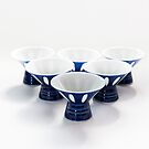 Japanese Blue and White Sake Cups by Skye Hohmann