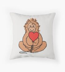 Lovable Orangutan Throw Pillow