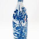 Blue and White Peony Tokkuri Bottle by Skye Hohmann