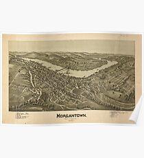 Panoramic Maps Morgantown West Virginia 1897 Poster