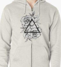 Geometric Roses Zipped Hoodie