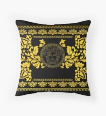 Gold Medusa Throw Pillow